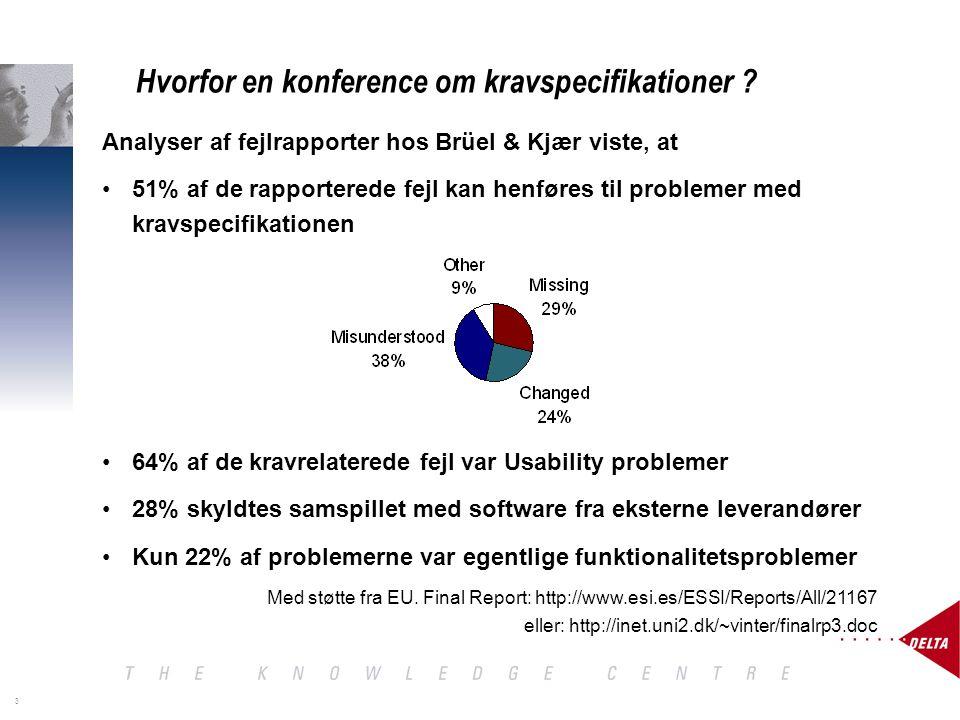 3 Analyser af fejlrapporter hos Brüel & Kjær viste, at 51% af de rapporterede fejl kan henføres til problemer med kravspecifikationen 64% af de kravrelaterede fejl var Usability problemer 28% skyldtes samspillet med software fra eksterne leverandører Kun 22% af problemerne var egentlige funktionalitetsproblemer Med støtte fra EU.