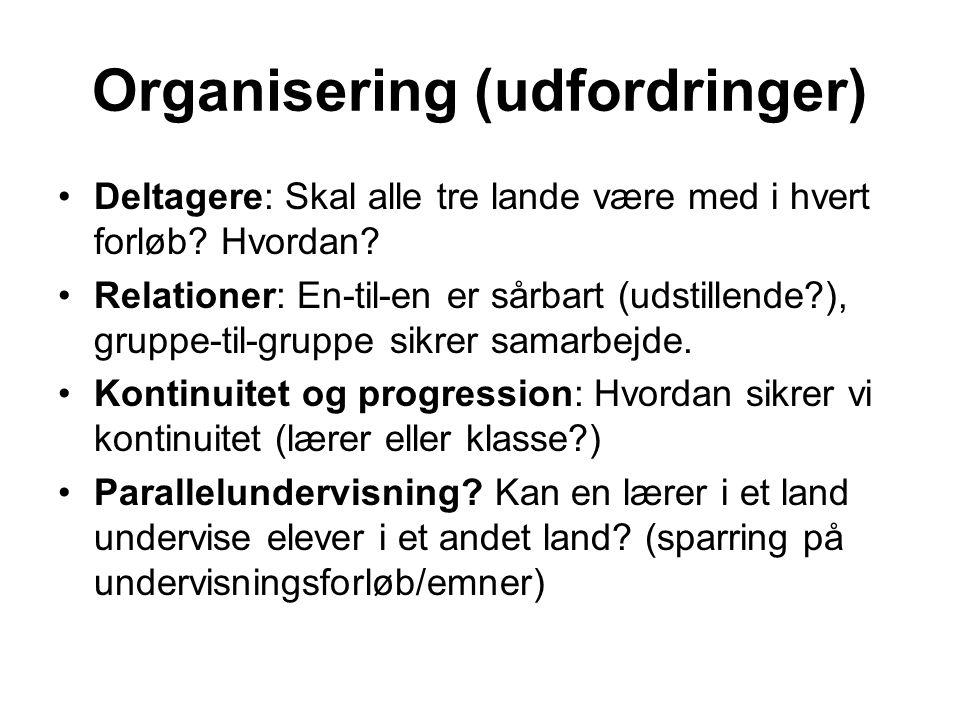 Organisering (udfordringer) Deltagere: Skal alle tre lande være med i hvert forløb.