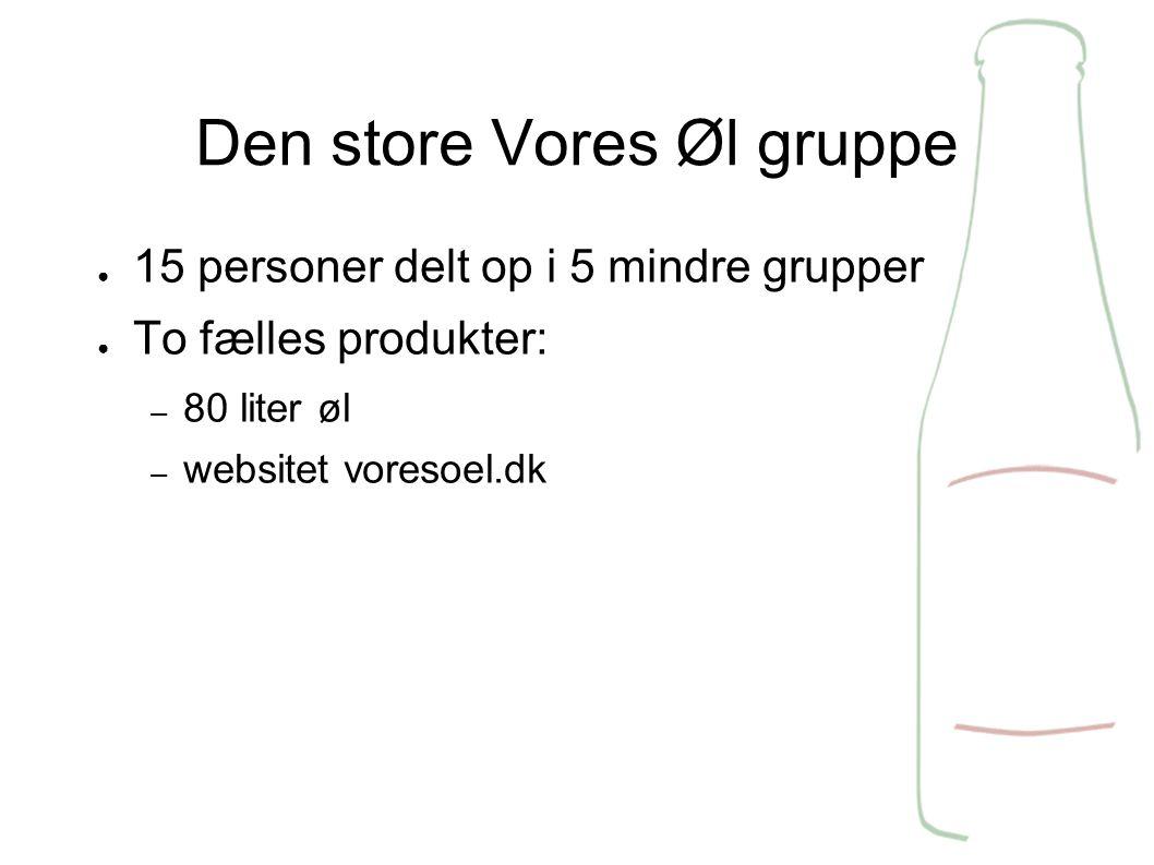 Den store Vores Øl gruppe ● 15 personer delt op i 5 mindre grupper ● To fælles produkter: – 80 liter øl – websitet voresoel.dk