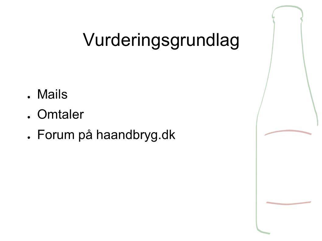 Vurderingsgrundlag ● Mails ● Omtaler ● Forum på haandbryg.dk