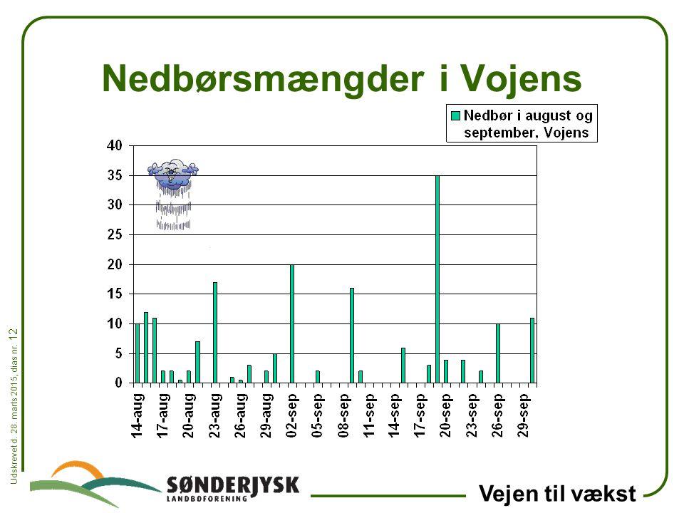 Udskrevet d. 28. marts 2015, dias nr. 12 Vejen til vækst Nedbørsmængder i Vojens
