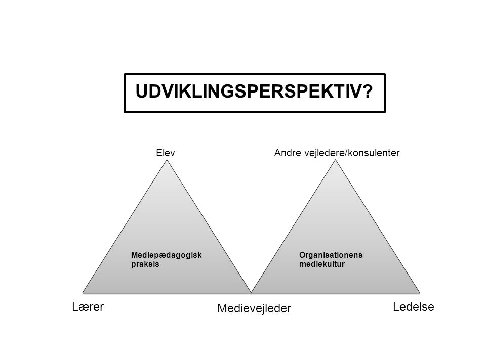 Mediepædagogisk praksis Organisationens mediekultur Medievejleder Ledelse Lærer UDVIKLINGSPERSPEKTIV.