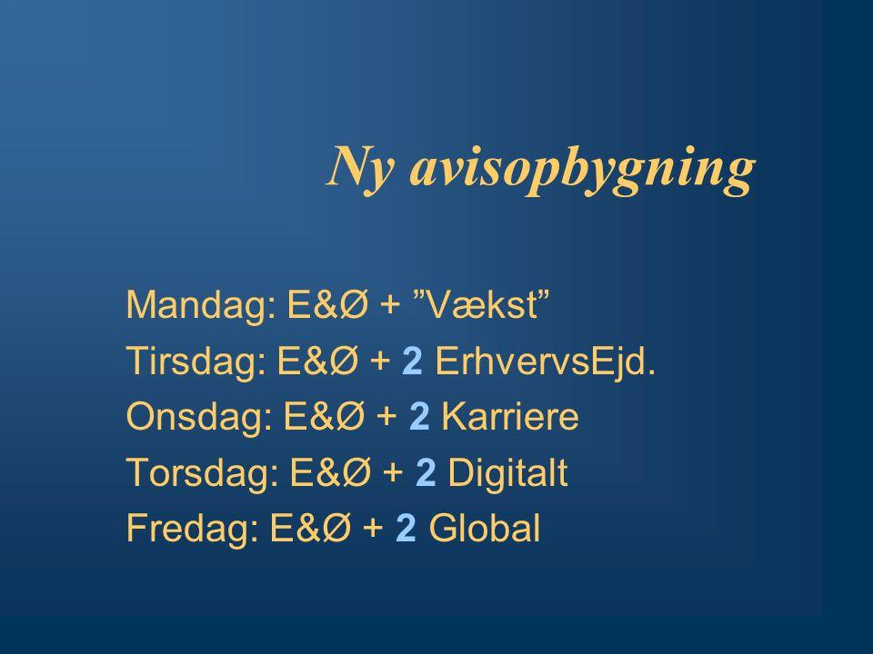 Ny avisopbygning Mandag: E&Ø + Vækst Tirsdag: E&Ø + 2 ErhvervsEjd.
