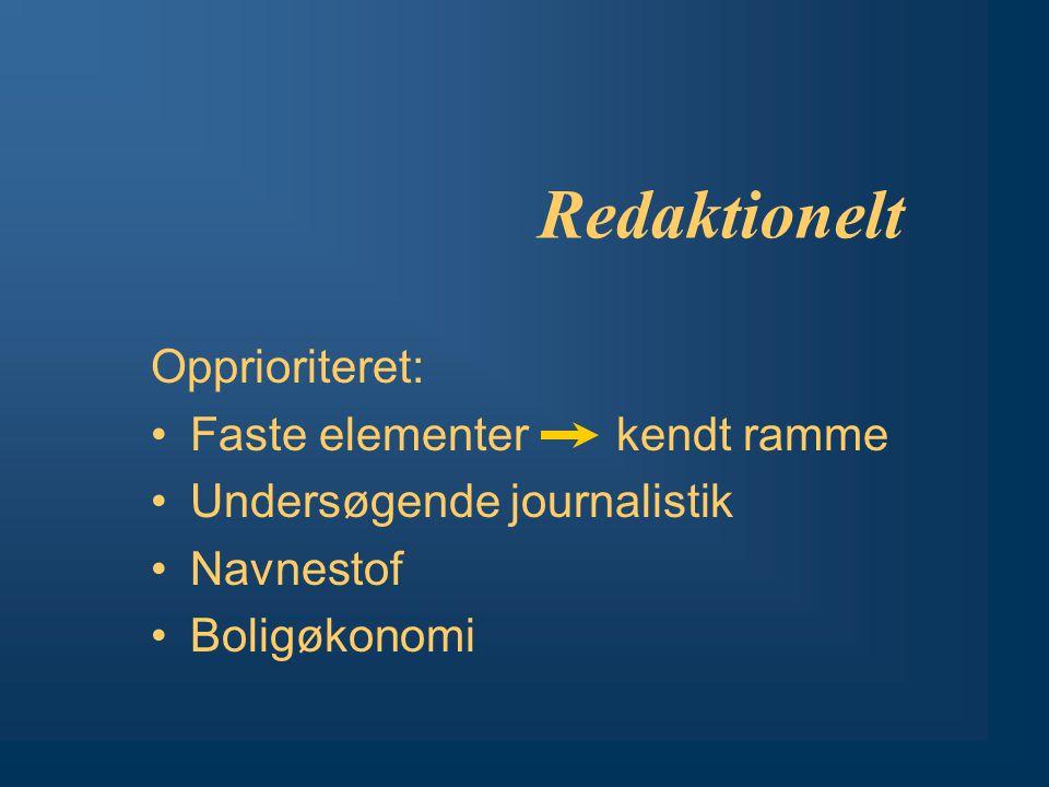 Redaktionelt Opprioriteret: Faste elementer kendt ramme Undersøgende journalistik Navnestof Boligøkonomi