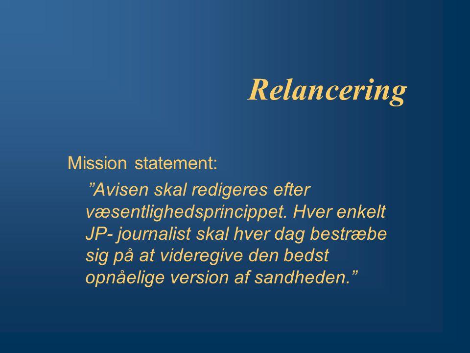 Relancering Mission statement: Avisen skal redigeres efter væsentlighedsprincippet.