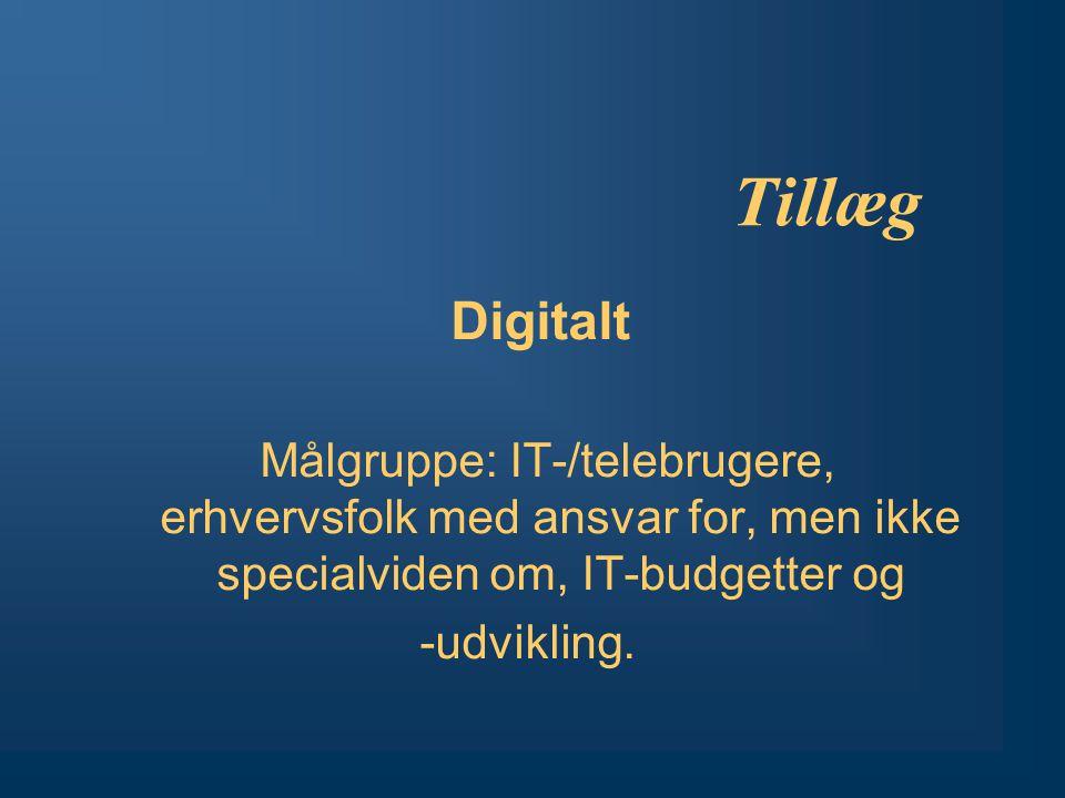 Tillæg Digitalt Målgruppe: IT-/telebrugere, erhvervsfolk med ansvar for, men ikke specialviden om, IT-budgetter og -udvikling.