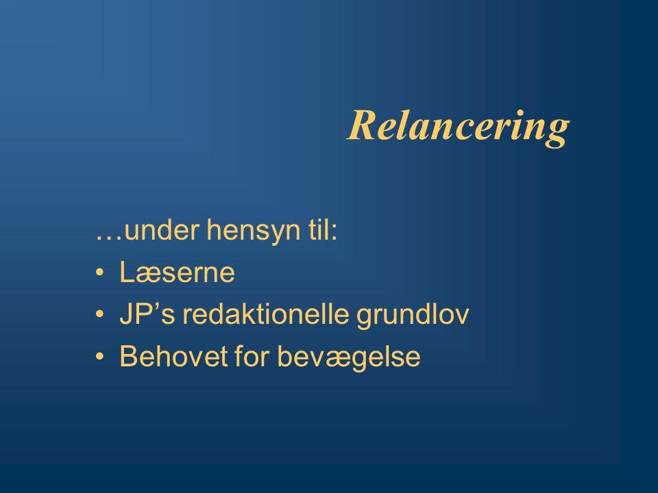 Relancering …under hensyn til: Læserne JP's redaktionelle grundlov Behovet for bevægelse