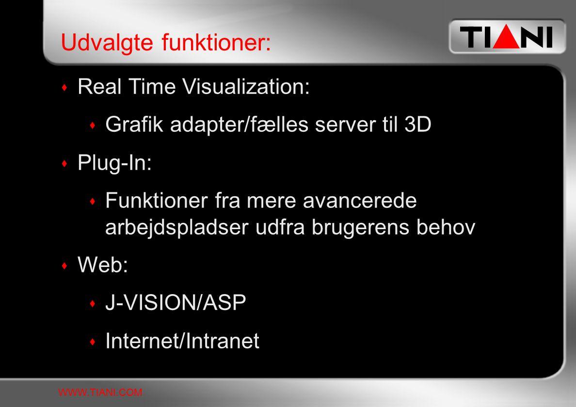 Real Time Visualization:  Grafik adapter/fælles server til 3D  Plug-In:  Funktioner fra mere avancerede arbejdspladser udfra brugerens behov  Web:  J-VISION/ASP  Internet/Intranet Udvalgte funktioner: WWW.TIANI.COM