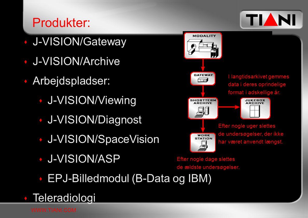  J-VISION/Gateway  J-VISION/Archive  Arbejdspladser:  J-VISION/Viewing  J-VISION/Diagnost  J-VISION/SpaceVision  J-VISION/ASP  EPJ-Billedmodul (B-Data og IBM)  Teleradiologi Produkter: WWW.TIANI.COM I langtidsarkivet gemmes data i deres oprindelige format i adskellige år.