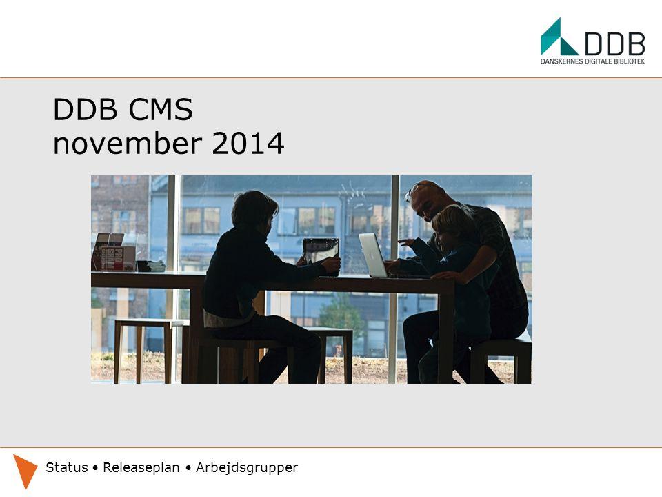 DDB CMS november 2014 Status Releaseplan Arbejdsgrupper