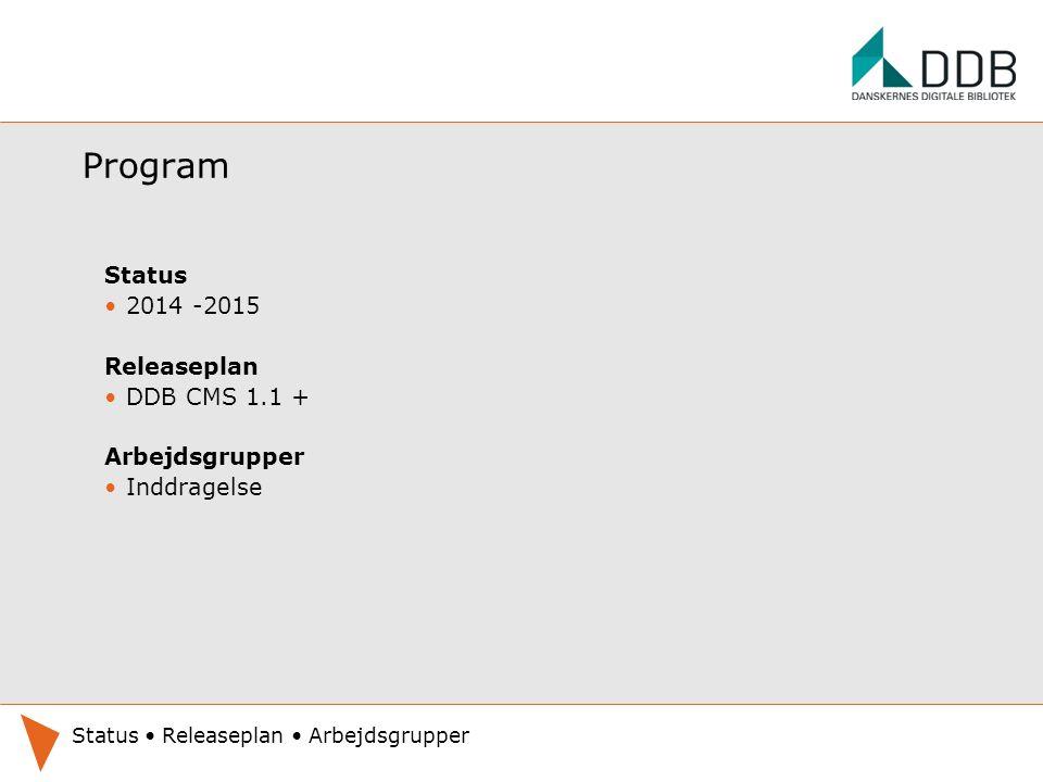 Program Status 2014 -2015 Releaseplan DDB CMS 1.1 + Arbejdsgrupper Inddragelse Status Releaseplan Arbejdsgrupper