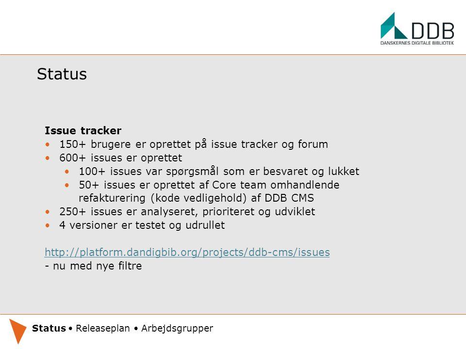Status Issue tracker 150+ brugere er oprettet på issue tracker og forum 600+ issues er oprettet 100+ issues var spørgsmål som er besvaret og lukket 50+ issues er oprettet af Core team omhandlende refakturering (kode vedligehold) af DDB CMS 250+ issues er analyseret, prioriteret og udviklet 4 versioner er testet og udrullet http://platform.dandigbib.org/projects/ddb-cms/issues - nu med nye filtre Oplæg under udarbejdelse.