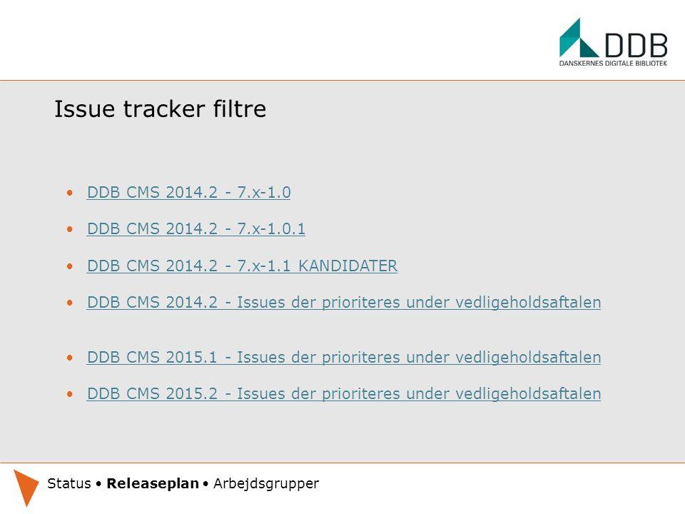 Issue tracker filtre DDB CMS 2014.2 - 7.x-1.0 DDB CMS 2014.2 - 7.x-1.0.1 DDB CMS 2014.2 - 7.x-1.1 KANDIDATER DDB CMS 2014.2 - Issues der prioriteres under vedligeholdsaftalen DDB CMS 2015.1 - Issues der prioriteres under vedligeholdsaftalen DDB CMS 2015.2 - Issues der prioriteres under vedligeholdsaftalen Oplæg under udarbejdelse.