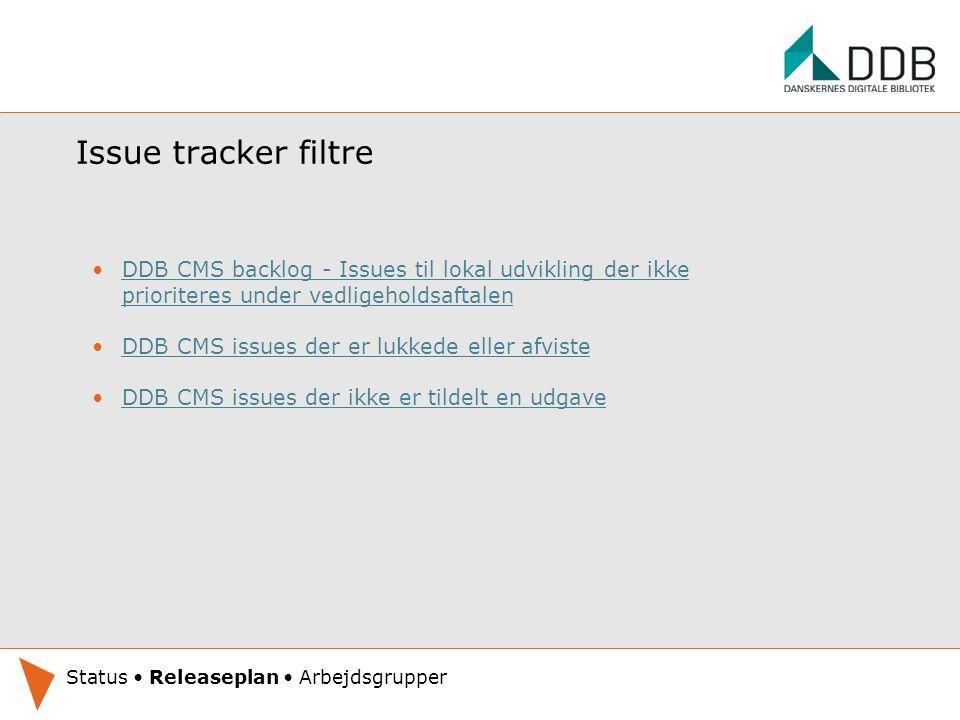 Issue tracker filtre DDB CMS backlog - Issues til lokal udvikling der ikke prioriteres under vedligeholdsaftalenDDB CMS backlog - Issues til lokal udvikling der ikke prioriteres under vedligeholdsaftalen DDB CMS issues der er lukkede eller afviste DDB CMS issues der ikke er tildelt en udgave Oplæg under udarbejdelse.