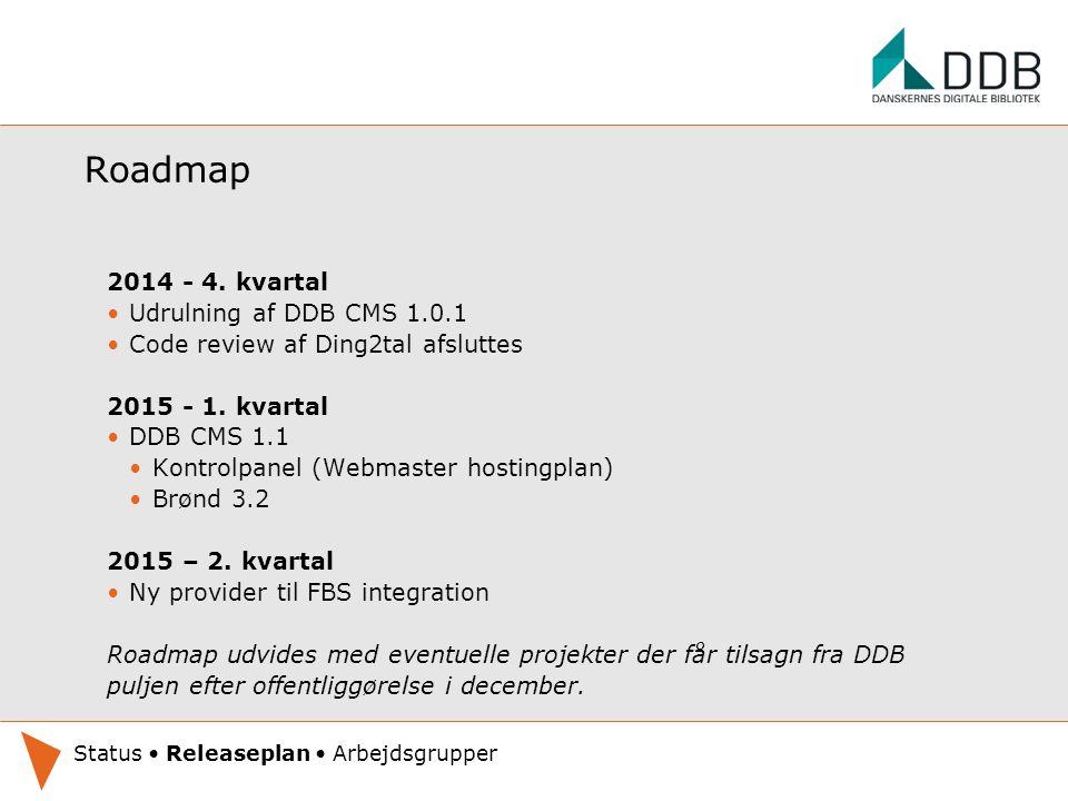 Roadmap 2014 - 4. kvartal Udrulning af DDB CMS 1.0.1 Code review af Ding2tal afsluttes 2015 - 1.