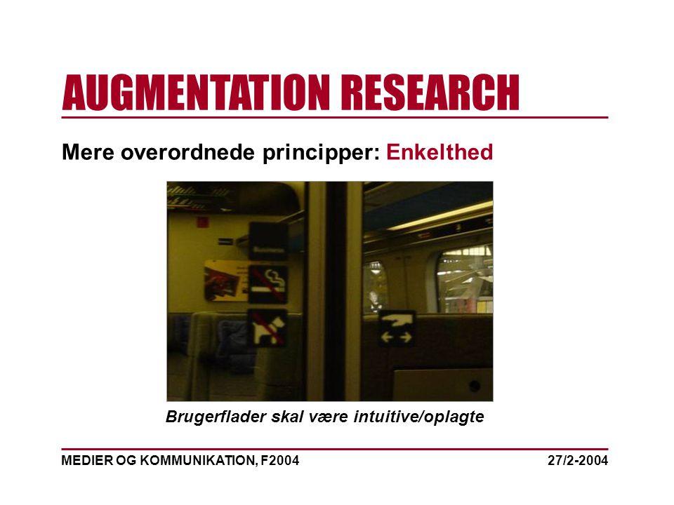 MEDIER OG KOMMUNIKATION, F2004 AUGMENTATION RESEARCH 27/2-2004 Mere overordnede principper: Enkelthed Brugerflader skal være intuitive/oplagte