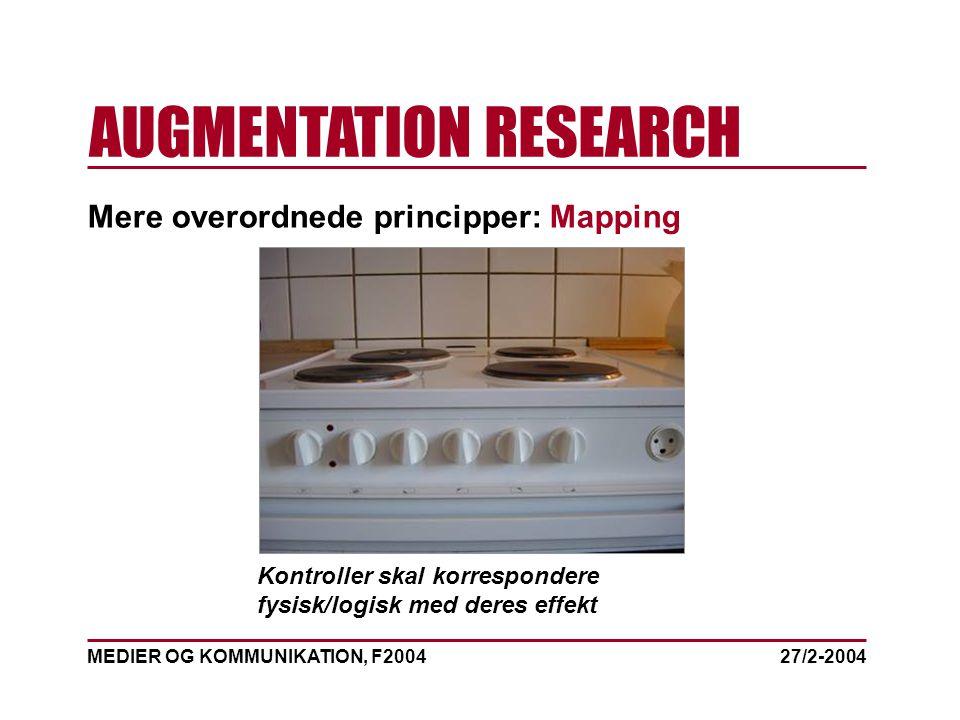 MEDIER OG KOMMUNIKATION, F2004 AUGMENTATION RESEARCH 27/2-2004 Mere overordnede principper: Mapping Kontroller skal korrespondere fysisk/logisk med deres effekt