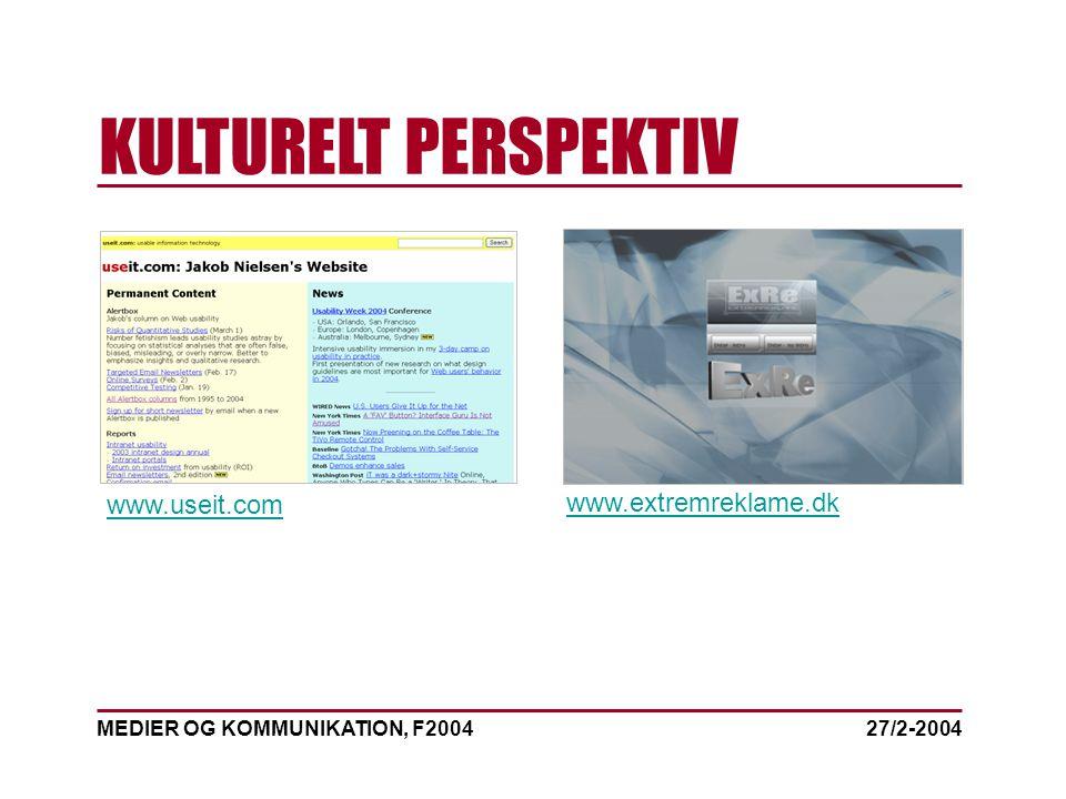 MEDIER OG KOMMUNIKATION, F2004 KULTURELT PERSPEKTIV 27/2-2004 www.extremreklame.dk www.useit.com