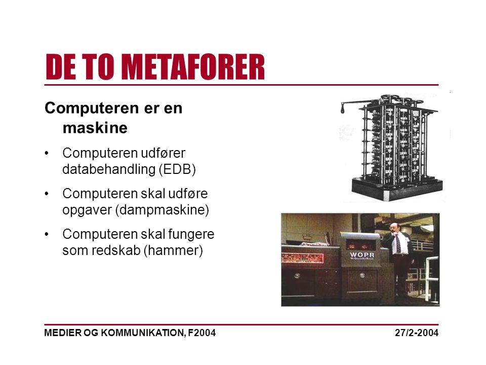 MEDIER OG KOMMUNIKATION, F2004 DE TO METAFORER 27/2-2004 Computeren er en maskine Computeren udfører databehandling (EDB) Computeren skal udføre opgaver (dampmaskine) Computeren skal fungere som redskab (hammer)