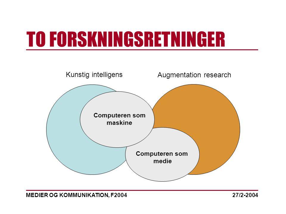 MEDIER OG KOMMUNIKATION, F2004 TO FORSKNINGSRETNINGER 27/2-2004 Kunstig intelligens Augmentation research Computeren som maskine Computeren som medie