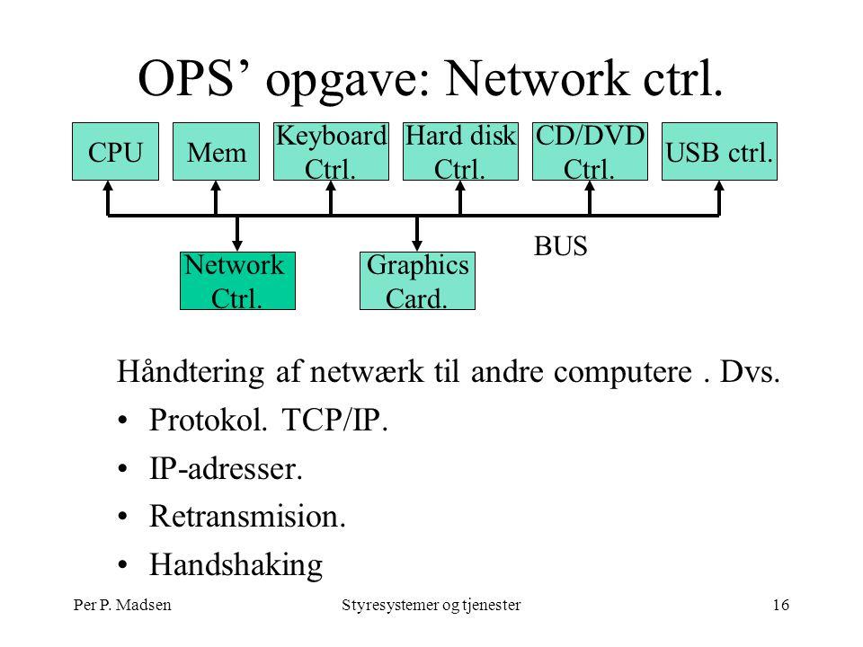 Per P. MadsenStyresystemer og tjenester16 OPS' opgave: Network ctrl.