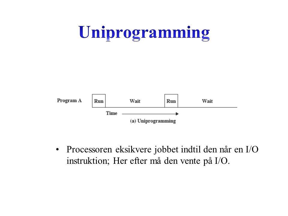 Processoren eksikvere jobbet indtil den når en I/O instruktion; Her efter må den vente på I/O.