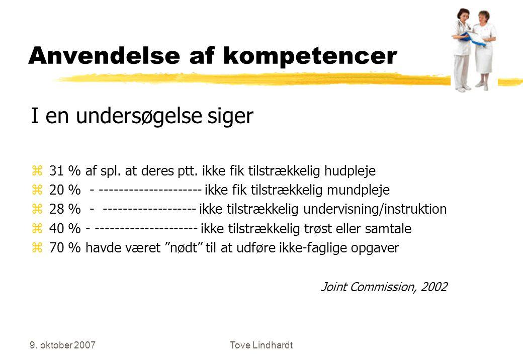 9. oktober 2007Tove Lindhardt Anvendelse af kompetencer I en undersøgelse siger z31 % af spl.