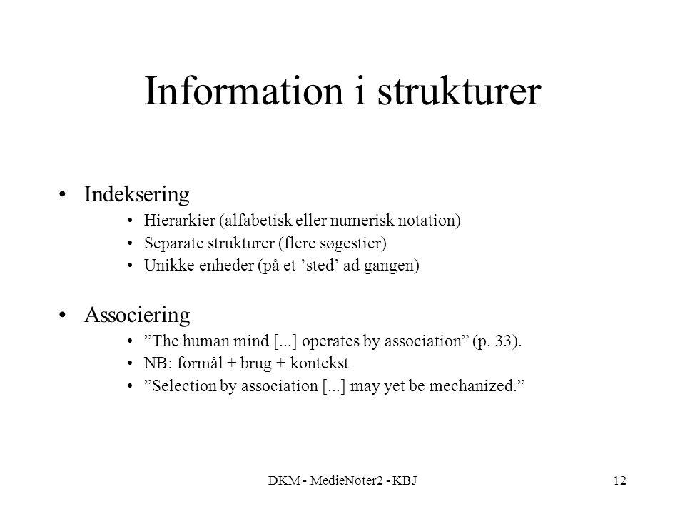 DKM - MedieNoter2 - KBJ12 Information i strukturer Indeksering Hierarkier (alfabetisk eller numerisk notation) Separate strukturer (flere søgestier) Unikke enheder (på et 'sted' ad gangen) Associering The human mind [...] operates by association (p.