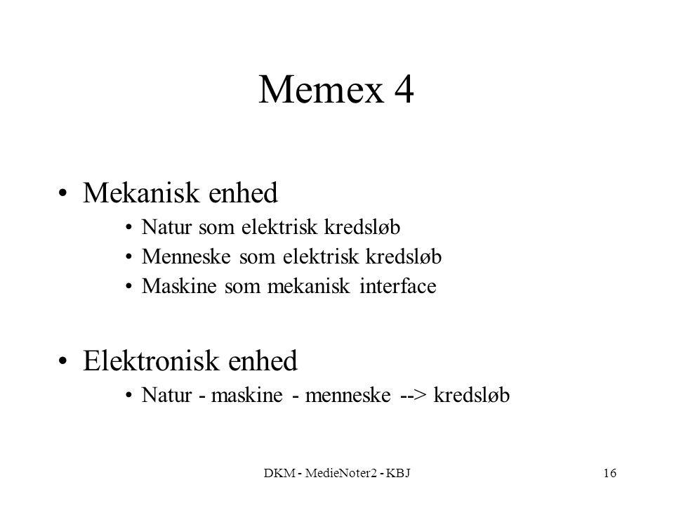 DKM - MedieNoter2 - KBJ16 Memex 4 Mekanisk enhed Natur som elektrisk kredsløb Menneske som elektrisk kredsløb Maskine som mekanisk interface Elektronisk enhed Natur - maskine - menneske --> kredsløb