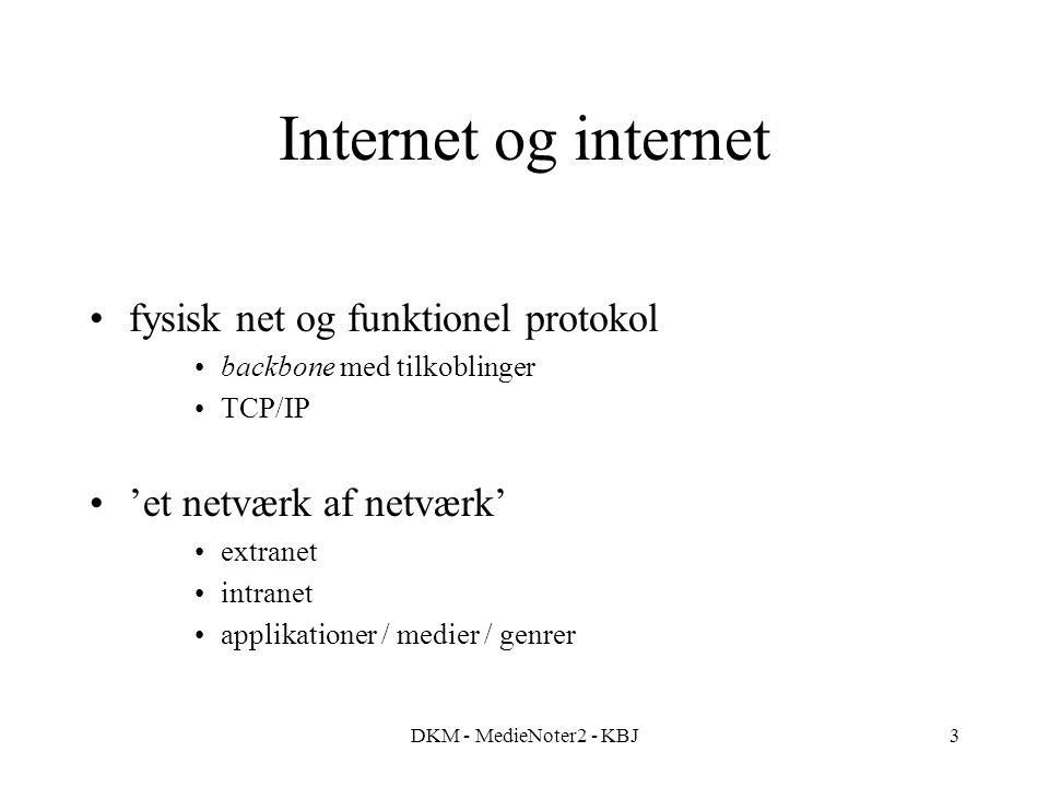 DKM - MedieNoter2 - KBJ3 Internet og internet fysisk net og funktionel protokol backbone med tilkoblinger TCP/IP 'et netværk af netværk' extranet intranet applikationer / medier / genrer