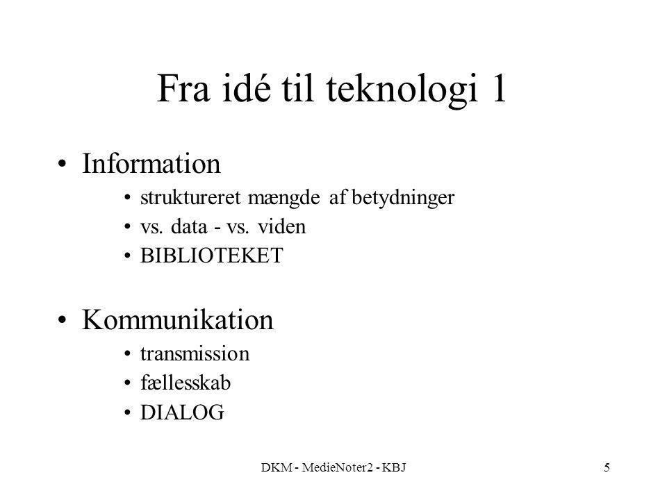 DKM - MedieNoter2 - KBJ5 Fra idé til teknologi 1 Information struktureret mængde af betydninger vs.