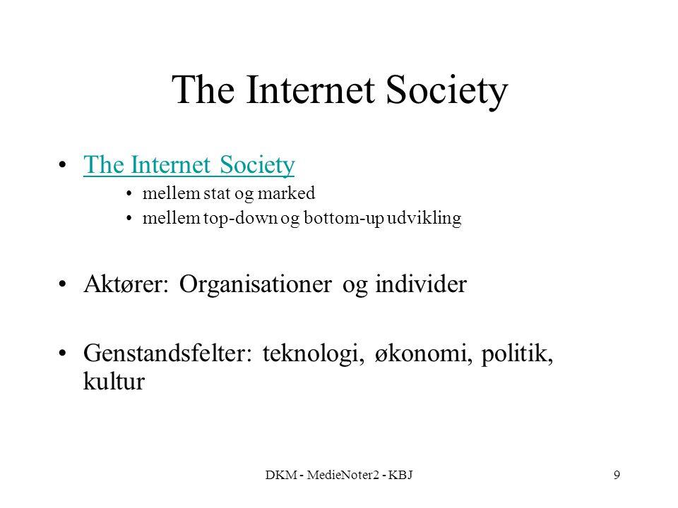 DKM - MedieNoter2 - KBJ9 The Internet Society mellem stat og marked mellem top-down og bottom-up udvikling Aktører: Organisationer og individer Genstandsfelter: teknologi, økonomi, politik, kultur