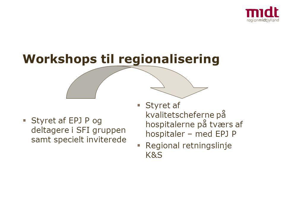 Workshops til regionalisering  Styret af EPJ P og deltagere i SFI gruppen samt specielt inviterede  Styret af kvalitetscheferne på hospitalerne på tværs af hospitaler – med EPJ P  Regional retningslinje K&S