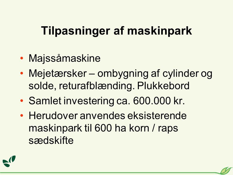 Tilpasninger af maskinpark Majssåmaskine Mejetærsker – ombygning af cylinder og solde, returafblænding.