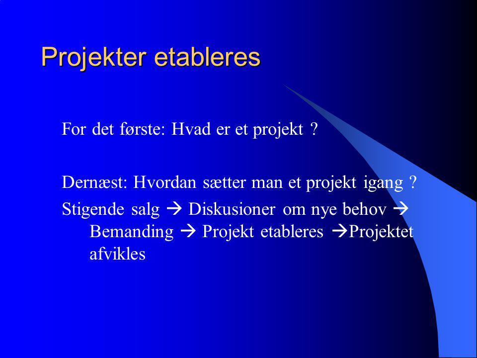 Projekter etableres For det første: Hvad er et projekt .