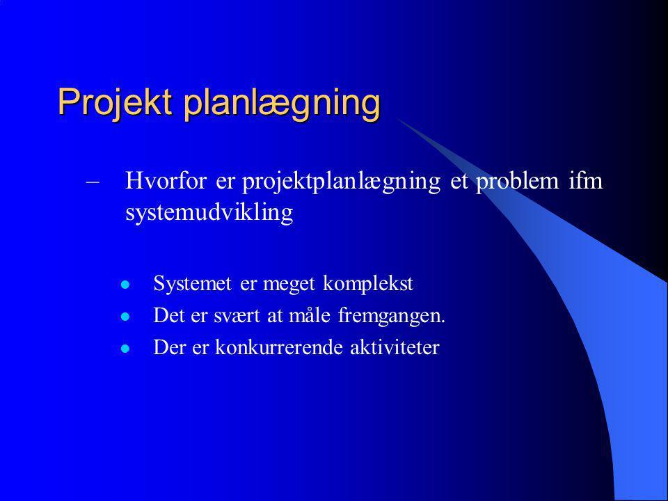 Projekt planlægning –Hvorfor er projektplanlægning et problem ifm systemudvikling Systemet er meget komplekst Det er svært at måle fremgangen.