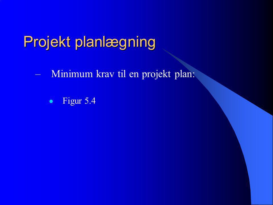 Projekt planlægning –Minimum krav til en projekt plan: Figur 5.4