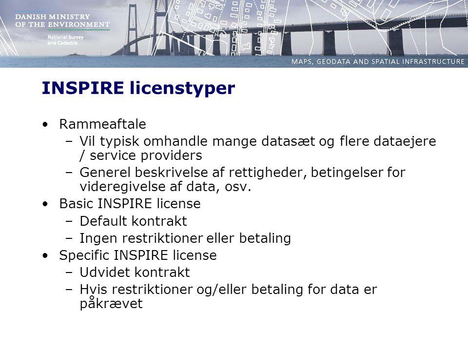 INSPIRE licenstyper Rammeaftale –Vil typisk omhandle mange datasæt og flere dataejere / service providers –Generel beskrivelse af rettigheder, betingelser for videregivelse af data, osv.