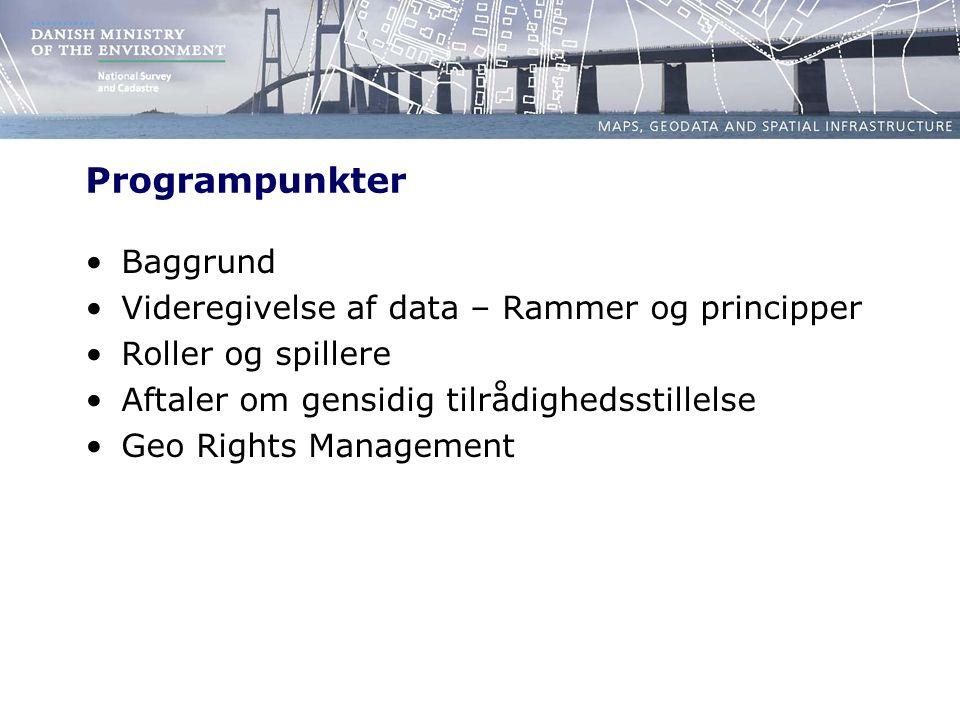 Programpunkter Baggrund Videregivelse af data – Rammer og principper Roller og spillere Aftaler om gensidig tilrådighedsstillelse Geo Rights Management