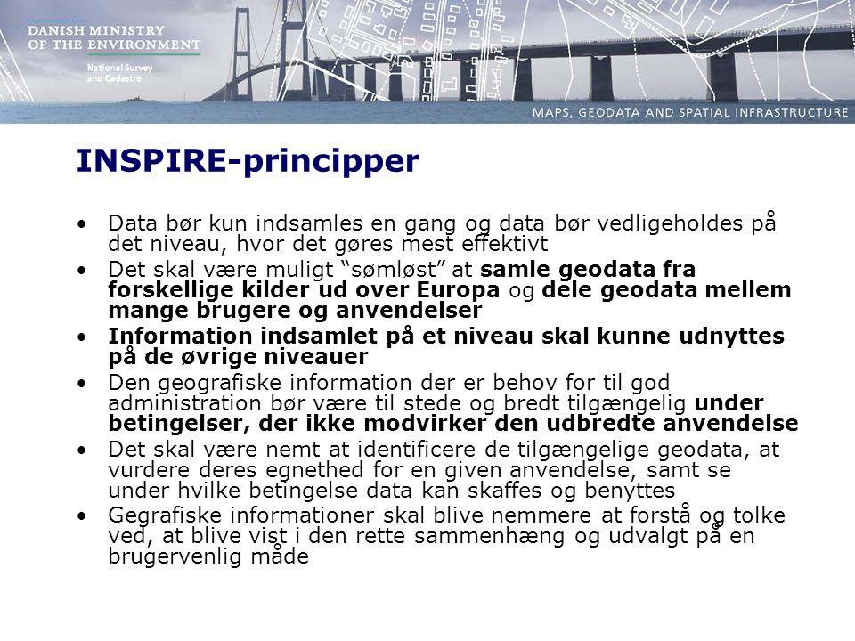 INSPIRE-principper Data bør kun indsamles en gang og data bør vedligeholdes på det niveau, hvor det gøres mest effektivt Det skal være muligt sømløst at samle geodata fra forskellige kilder ud over Europa og dele geodata mellem mange brugere og anvendelser Information indsamlet på et niveau skal kunne udnyttes på de øvrige niveauer Den geografiske information der er behov for til god administration bør være til stede og bredt tilgængelig under betingelser, der ikke modvirker den udbredte anvendelse Det skal være nemt at identificere de tilgængelige geodata, at vurdere deres egnethed for en given anvendelse, samt se under hvilke betingelse data kan skaffes og benyttes Gegrafiske informationer skal blive nemmere at forstå og tolke ved, at blive vist i den rette sammenhæng og udvalgt på en brugervenlig måde