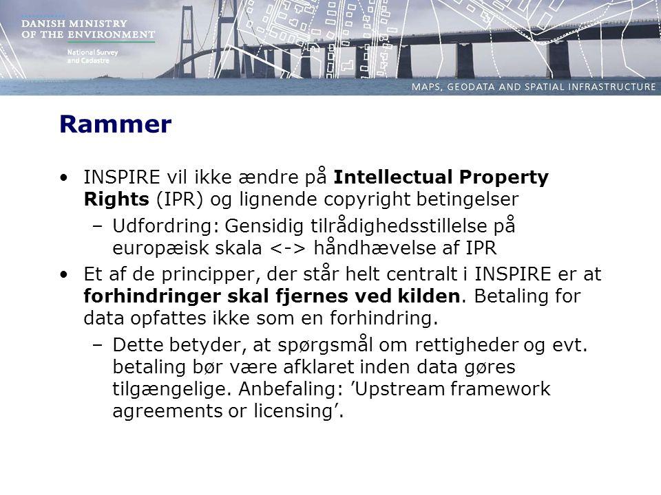 Rammer INSPIRE vil ikke ændre på Intellectual Property Rights (IPR) og lignende copyright betingelser –Udfordring: Gensidig tilrådighedsstillelse på europæisk skala håndhævelse af IPR Et af de principper, der står helt centralt i INSPIRE er at forhindringer skal fjernes ved kilden.