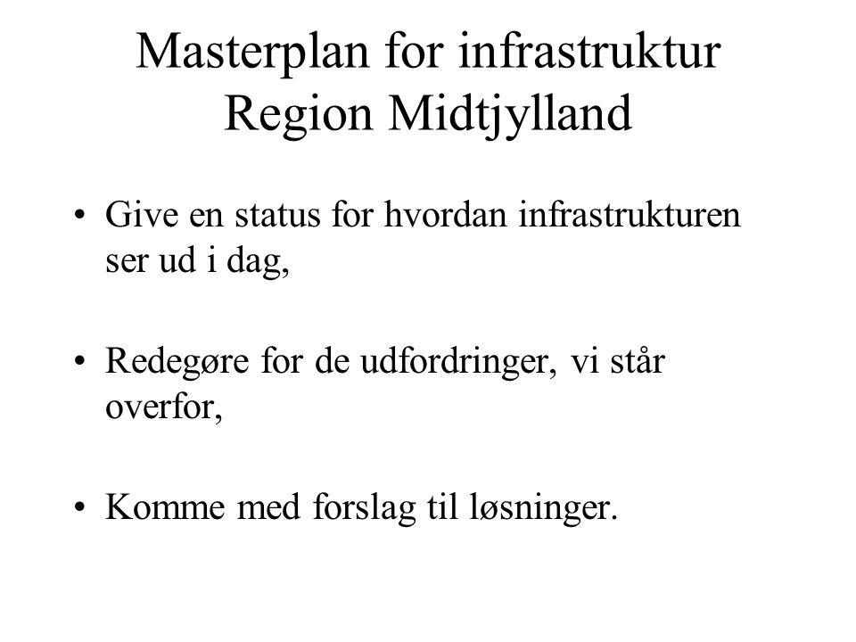 Masterplan for infrastruktur Region Midtjylland Give en status for hvordan infrastrukturen ser ud i dag, Redegøre for de udfordringer, vi står overfor, Komme med forslag til løsninger.