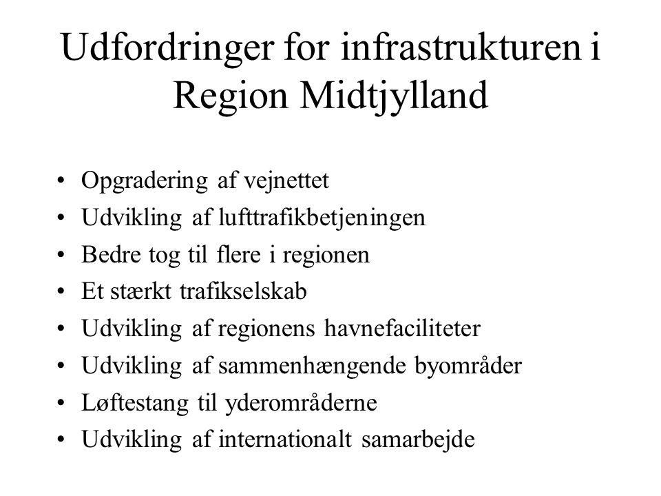 Udfordringer for infrastrukturen i Region Midtjylland Opgradering af vejnettet Udvikling af lufttrafikbetjeningen Bedre tog til flere i regionen Et stærkt trafikselskab Udvikling af regionens havnefaciliteter Udvikling af sammenhængende byområder Løftestang til yderområderne Udvikling af internationalt samarbejde
