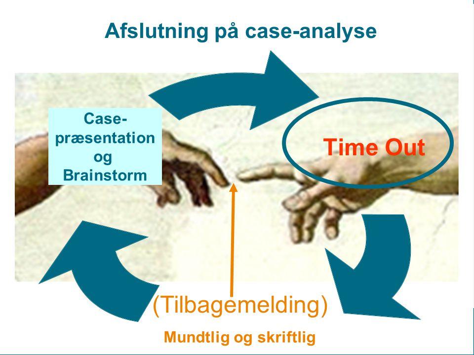 Time Out (Tilbagemelding) Case- præsentation og Brainstorm Afslutning på case-analyse Mundtlig og skriftlig