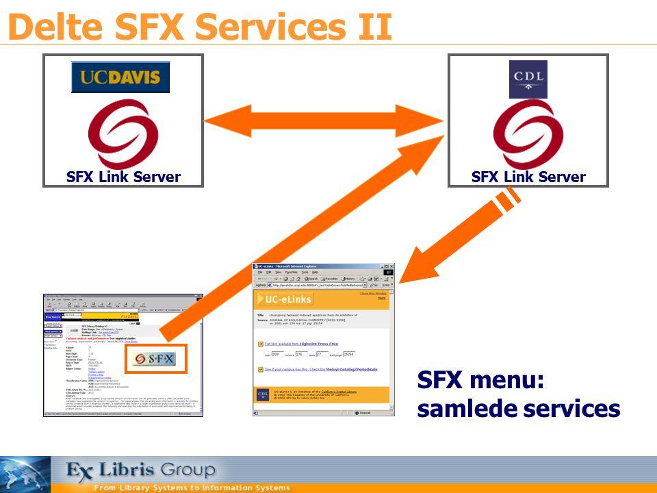 Delte SFX Services II SFX Link Server SFX menu: samlede services SFX Link Server