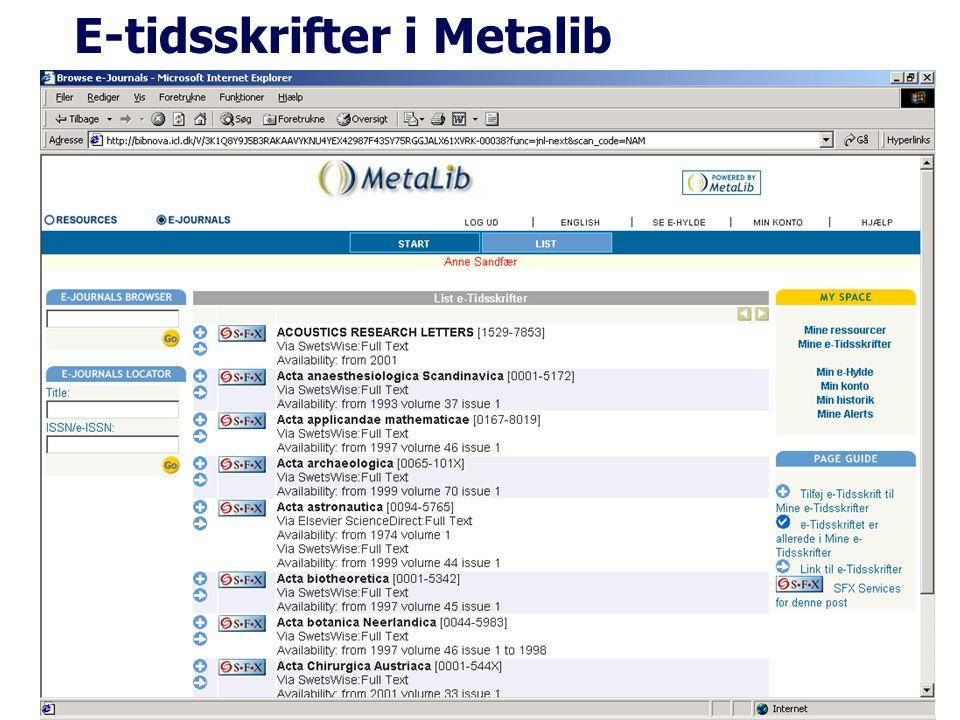 E-tidsskrifter i Metalib