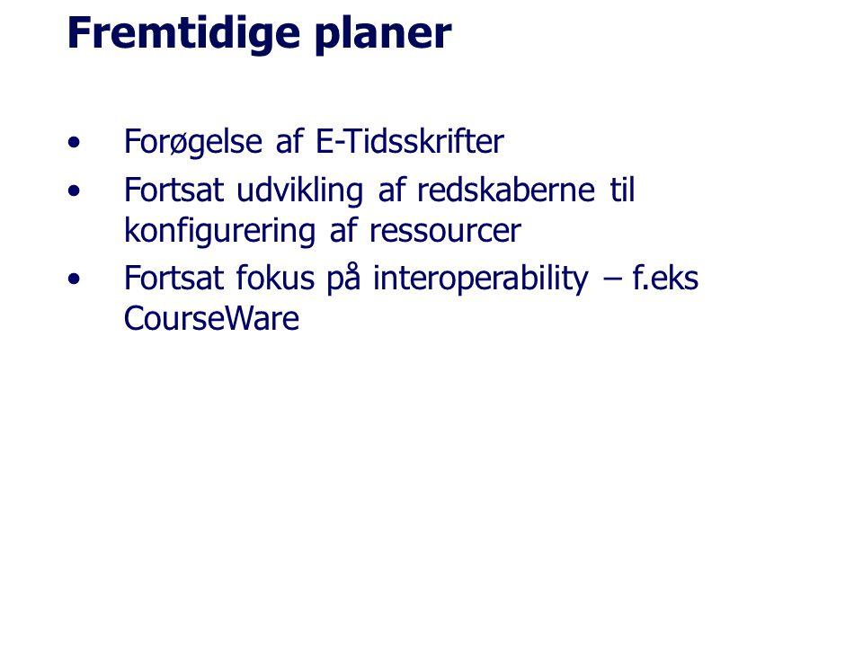 Fremtidige planer Forøgelse af E-Tidsskrifter Fortsat udvikling af redskaberne til konfigurering af ressourcer Fortsat fokus på interoperability – f.eks CourseWare