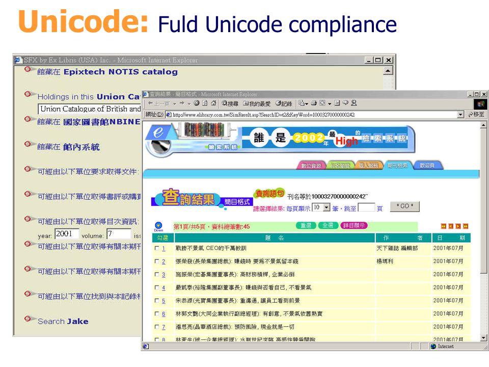 Unicode: Fuld Unicode compliance