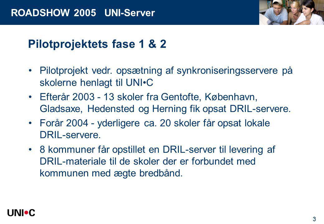 ROADSHOW 2005 UNI-Server 3 Pilotprojektets fase 1 & 2 Pilotprojekt vedr.