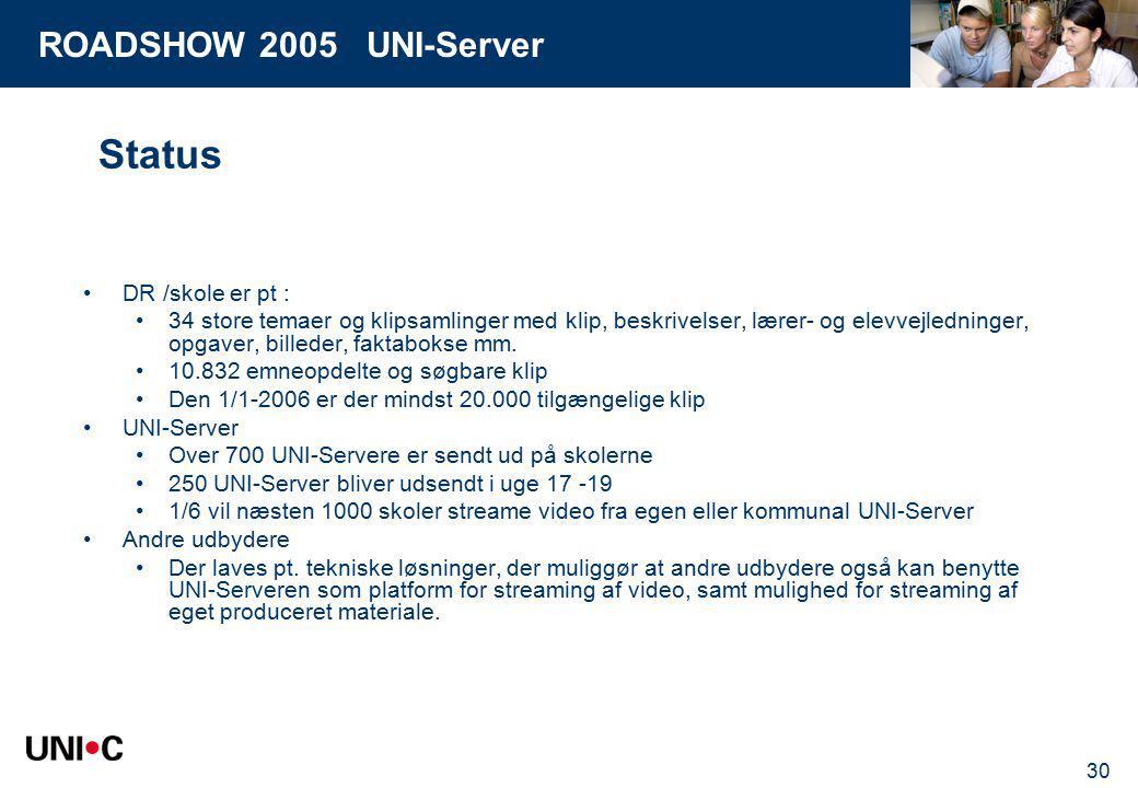 ROADSHOW 2005 UNI-Server 30 Status DR /skole er pt : 34 store temaer og klipsamlinger med klip, beskrivelser, lærer- og elevvejledninger, opgaver, billeder, faktabokse mm.